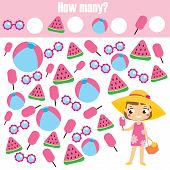 Counting Educational Children Game. Study Math, Numbers, Addition. Summer Holidays Theme Kids Mathem poster
