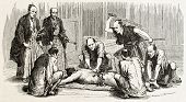 picture of scourge  - Japanese flagellation old illustration - JPG