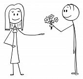 Cartoon Stick Figure Drawing Conceptual Illustration Of Man Offering Flowers And Declaring Love To W poster