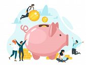 Coins In Piggy Bank Flat Vector Illustration. Family Saving Money Together. Quick Cash, Loan. Banker poster