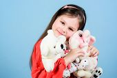 Childhood Concept. Small Girl Smiling Face With Favorite Toys. Happy Childhood. Little Girl Play Wit poster