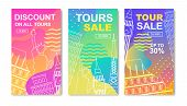 Discount And Tour Sales Set. Colorful Flyers, Promotional Posters Templates With Landmark Silhouette poster