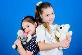 Sweet Childhood. Childhood Concept. Kids Adorable Cute Girls Play With Soft Toys. Happy Childhood. C poster