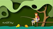 Father And Son Fishing. Happy Father S Day Card poster