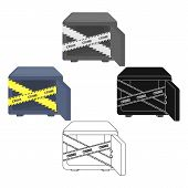 Opened Safe With A Protective Tape. Creme, Metal Safe Single Icon In Cartoon, Black Style Vector Sym poster