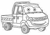 Coloring Page. Colouring Picture. Cute Cartoon Delivery Truck. Cargo Business Van. Childish Design F poster
