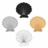 Prehistoric Seashell Icon In Cartoon, Black Style Isolated On White Background. Dinosaurs And Prehis poster