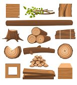 Timber Set. Stacked Timbers And Firewood Logs, Forest Trees Objects And Wood Lumber Production Carto poster