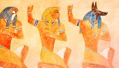 Ancient Egypt Scene. Hieroglyphic Carvings On The Exterior Walls Of An Ancient Egyptian Temple. Grun poster