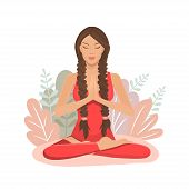 Cute Cartoon Girl In Yoga Lotus Practices Meditation. Practice Of Yoga. Vector Illustration. Young A poster