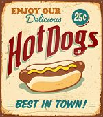 foto of hot dog  - Vintage Hot Dogs Metal Sign  - JPG