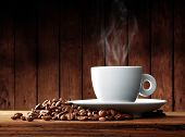 pic of coffee-cup  - Cup of coffee with coffee beans on a beautiful brown background - JPG