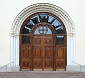 Large Old Wooden Door With Glass Inserts poster