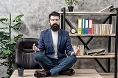 Prevent Professional Burnout. Man Bearded Manager Formal Suit Sit Lotus Pose Relaxing. Way To Relax. poster