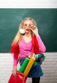 Fancy Schoolgirl. School Fashion. Creative Teen. Fashionable Girl Creative Student Chalkboard Backgr poster