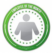 stock photo of employee month  - ribbon for the employee of the month illustration design over white - JPG