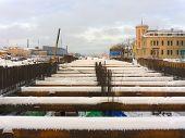 foto of sankt-peterburg  - reconstruction Pirogovskaya Embankment Sankt - JPG