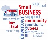 picture of local shop  - Small business word cloud in red - JPG