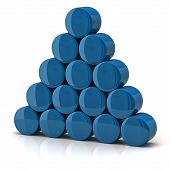 pic of cylinder pyramid  - 3d illustration of pyramid made from blue cylinders - JPG
