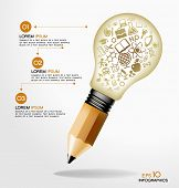 creative splash pencil and bulb with school icons set illustration. concept learning. the study of s