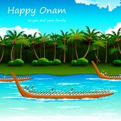 stock photo of onam festival  - illustration of Boat Race of Kerla on Onam - JPG