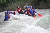 stock photo of raft  - Rafting as extreme and fun team sport - JPG