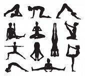 picture of pilates  - A set of highly detailed high quality yoga or pilates pose silhouettes - JPG