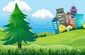 stock photo of landforms  - Illustration of the hills with buildings - JPG