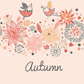 Autumn seamless pattern with cute birds, flowers and hearts in vector.  Seamless pattern can be used