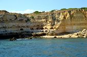 pic of vilamoura  - Caves cliffs yellow Albufeira in the Algarve - JPG