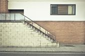 stock photo of bannister  - Flight of stairs outside a modern building - JPG