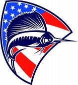 picture of sailfish  - Illustration of a sailfish fish jumping with American stars and stripes flag in background set inside shield done in retro style - JPG