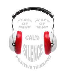 pic of noise pollution  - Red earmuffs with text collage on noise pollution theme - JPG