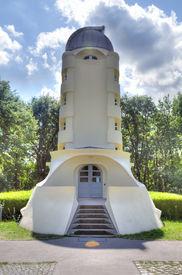 stock photo of einstein  - The Einstein tower in Potsdam at the science park in HDR - JPG