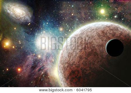 Постер, плакат: Планеты в пространстве, холст на подрамнике