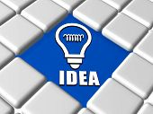 Idea And Light Bulb Sign In Boxes