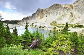 Medicine Bow Mountains And Lake Surrounded By Trees In Wyoming
