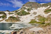 Glacier And A Mountain Lake In Rawah Wilderness, Colorado During Summer