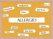 image of hay fever  - Allergies Corkboard Word Concept with great terms such as pollen mold hives and more - JPG