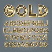 stock photo of broadway  - Golden 3D Broadway Alphabet And Numbers - JPG