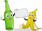 picture of segregation  - Board Illustration Featuring a Banana and Bottle Mascot Holding a Blank Piece of Paper - JPG