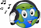 Mascot Illustration Featuring a Happy Mother Earth Listening to Music