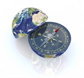image of courtesy  - one earth globe divided into two parts with a compass - JPG