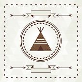 pic of wigwams  - Ethnic background with wigwam in navajo design - JPG