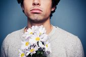 picture of reject  - Sad And Rejected Man With A Bouquet Of Flowers - JPG