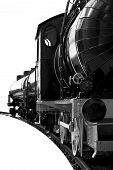 stock photo of train-wheel  - steam locomotive isolated over white - JPG