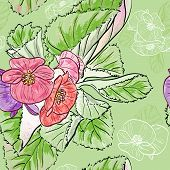 picture of begonias  - Vector illustration of Seamless pattern with drawing begonia flowers - JPG