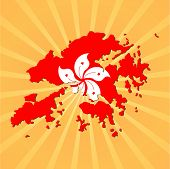 Hong Kong map flag on sunburst vector illustration