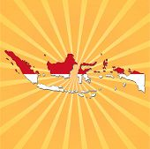 Indonesia map flag on sunburst vector illustration