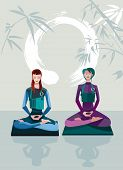 picture of samadhi  - Two Women Meditating sitting in the lotus position practicing silent meditation - JPG